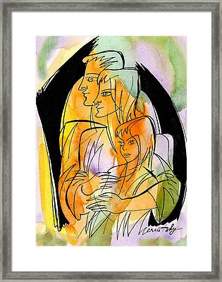 Parenting And Caring Framed Print by Leon Zernitsky