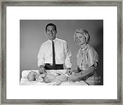 Parents With Twin Babies, 1960s Framed Print by H. Armstrong Roberts/ClassicStock