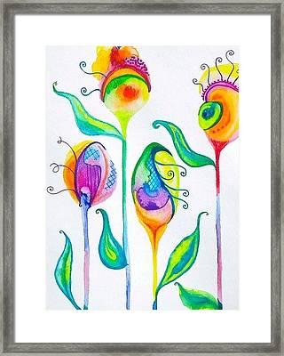Parfait Space Flowers Framed Print