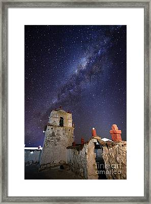 Parinacota Church Belfry And Milky Way Chile Framed Print by James Brunker