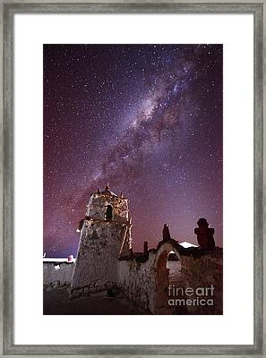 Parinacota Village Church And Milky Way Chile Framed Print by James Brunker