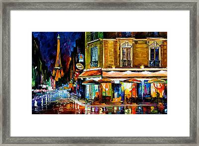 Paris - Recruitement Cafe Framed Print by Leonid Afremov