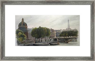 Paris Across The Seine Framed Print by Victoria Heryet