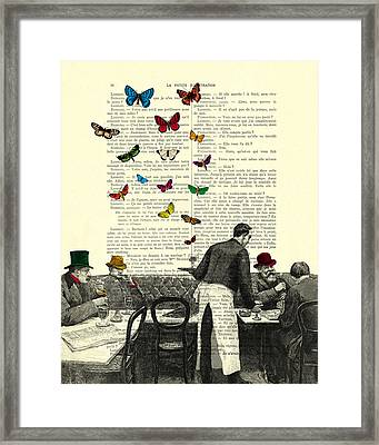 Inside Of A French Bistro At Paris And Rainbow Butterflies Framed Print