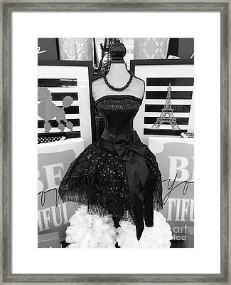 Framed Print featuring the photograph Paris Ballerina Costume Black And White French Decor - Parisian Ballet Art Black And White Art Deco by Kathy Fornal