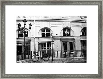 Framed Print featuring the photograph Paris Bicycle Street Lanterns Architecture Black And White Art Deco - Paris Black White Home Decor by Kathy Fornal