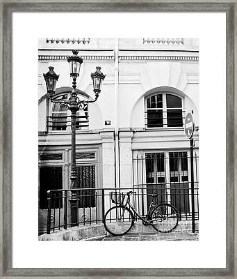 Framed Print featuring the photograph Paris Black And White Architecture Windows Street Lanterns Bicycle Print - Paris Street Lanterns by Kathy Fornal