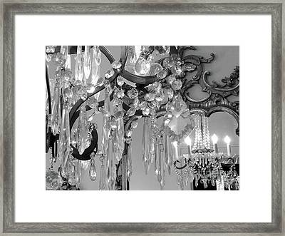 Framed Print featuring the photograph Paris Black And White Crystal Chandelier Mirrored Wall Decor -parisian Black White Chandelier Prints by Kathy Fornal