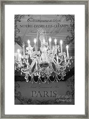 Paris Black And White Crystal Chandeliers - French Parisian Black White Crystal Chandelier Art Framed Print