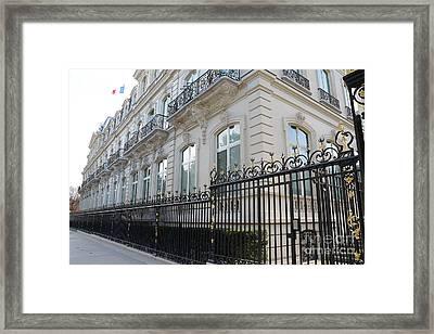 Framed Print featuring the photograph Paris Black Iron Ornate Gate To Parc Monceau - Parisian Gates  by Kathy Fornal