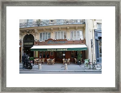 Paris Cafe Bistro - Galerie Vivienne - Paris Cafes Bistro Restaurant-paris Cafe Galerie Vivienne Framed Print by Kathy Fornal