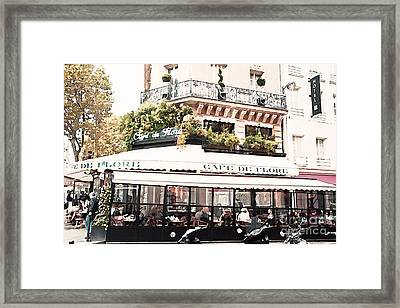 Paris Cafe De Flore Famous Landmark - Paris Street Cafe Restaurant  Framed Print by Kathy Fornal