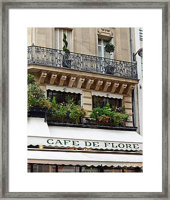 Paris Cafe De Flore - Paris Cafe Restaurant - Famous Paris Cafe Restaurant Framed Print by Kathy Fornal