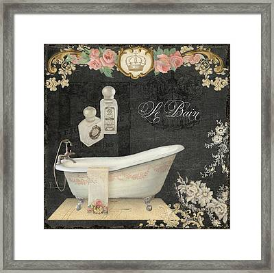 Paris - Chalkboard Le Bain Or The Bath Chandelier And Tub With Roses Framed Print by Audrey Jeanne Roberts