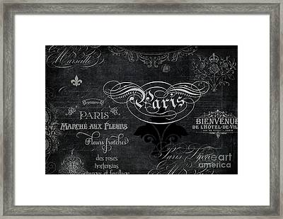 Framed Print featuring the painting Paris Chalkboard Typography 1 by Audrey Jeanne Roberts