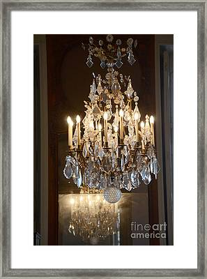 Paris Chandeliers Art - Romantic Paris French Chandelier Reflection - Rodin Museum Chandelier Art Framed Print by Kathy Fornal