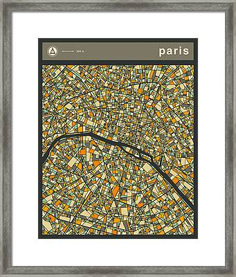 Paris City Map Framed Print