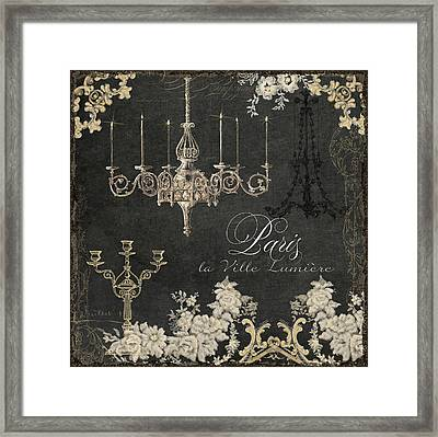 Paris - City Of Light Chandelier Candelabra Chalk Framed Print
