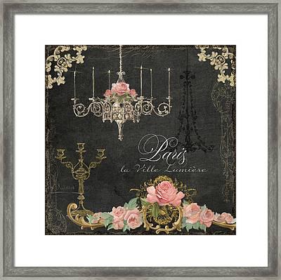 Paris - City Of Light Chandelier Candelabra Chalk Roses Framed Print by Audrey Jeanne Roberts