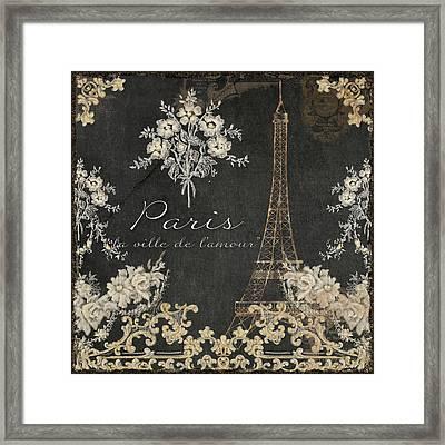 Paris - City Of Love Eiffel Tower Chalk Framed Print by Audrey Jeanne Roberts