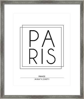 Paris City Print With Coordinates Framed Print