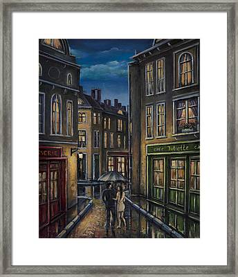 Paris Couple At Night Street Scene Framed Print by Radoslav Nedelchev