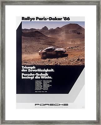 Paris Dakar Rally Porsche 1986 Framed Print