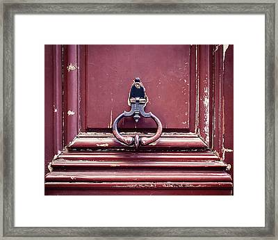 Framed Print featuring the photograph Paris Door Knocker by Melanie Alexandra Price