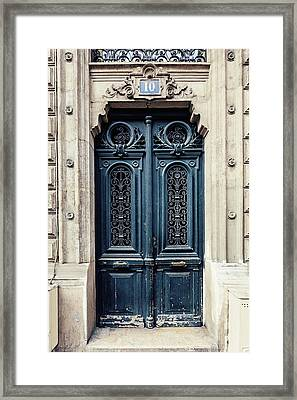 Framed Print featuring the photograph Paris Doors No. 10 by Melanie Alexandra Price