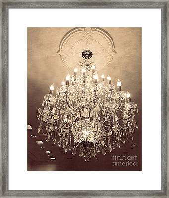 Paris Dreamy Golden Sepia Sparkling Elegant Opulent Chandelier Fine Art Framed Print