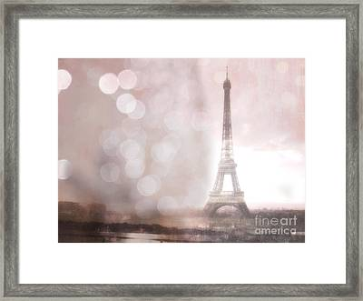 Paris Dreamy Romantic Eiffel Tower Sepia Morning Bokeh Lights Framed Print by Kathy Fornal
