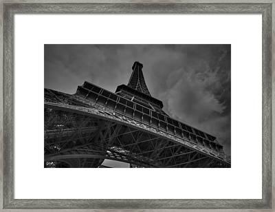 Framed Print featuring the photograph Paris - Eiffel Tower 001 Bw by Lance Vaughn