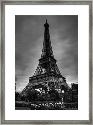 Framed Print featuring the photograph Paris - Eiffel Tower 004 Bw by Lance Vaughn