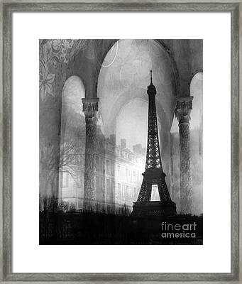 Paris Eiffel Tower Architecture Black And White Fine Art Photography Framed Print by Kathy Fornal