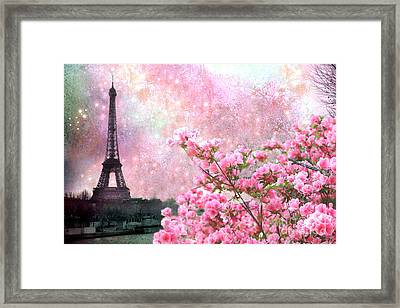 Paris Eiffel Tower Cherry Blossoms - Paris Spring Eiffel Tower Pink Blossoms  Framed Print by Kathy Fornal