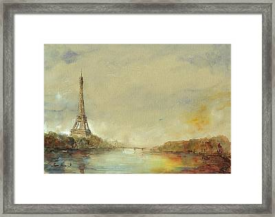Paris Eiffel Tower Painting Framed Print