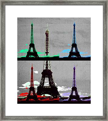Paris, Eiffel Tower - Pop Art Framed Print by Marianna Mills