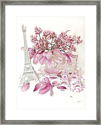 Paris Eiffel Tower Spring Magnolia Flower Blossoms - Paris Pink White Spring Blossoms  Framed Print by Kathy Fornal