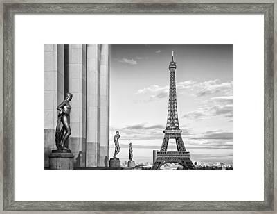 Paris Eiffel Tower Trocadero Monochrome Framed Print by Melanie Viola