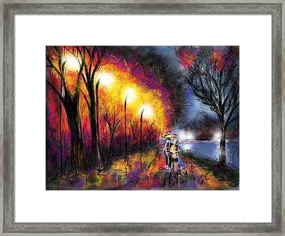 Framed Print featuring the digital art Paris Evening by Darren Cannell