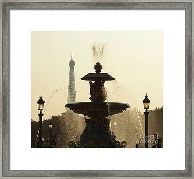 Paris Fountain In Sepia Framed Print