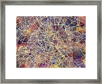 Paris France City Street Map Framed Print by Michael Tompsett