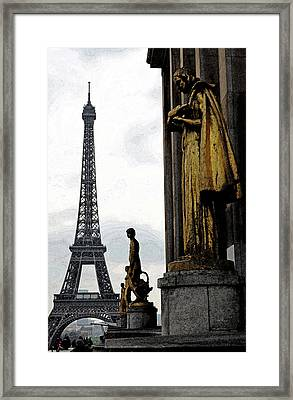 Paris France Trocadero Gold Statues And Eiffel Tower Parisian Cityscape Fresco Digital Art Framed Print by Shawn O'Brien