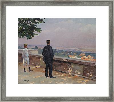 Paris From The Observatory At Meudon Framed Print by Jules Ernest Renoux