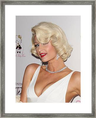Paris Hilton At Arrivals For Launch Framed Print by Everett