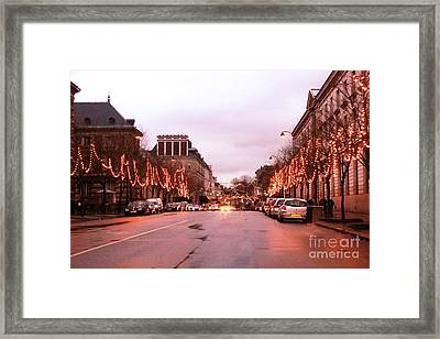 Paris Holiday Christmas Street Scene - Christmas In Paris Framed Print by Kathy Fornal