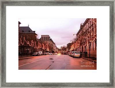 Paris Holiday Christmas Street Scene - Christmas In Paris Framed Print