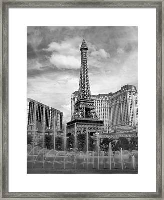 Paris Hotel - Las Vegas B-w Framed Print by Anita Burgermeister