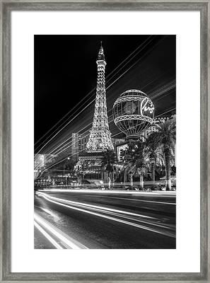 Paris In Las Vegas Strip Light Show Bw Framed Print by Susan Candelario