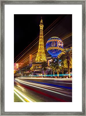 Paris In Las Vegas Strip Light Show Framed Print by Susan Candelario